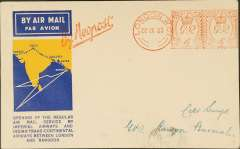 "(GB External) Imperial Airways, London to Rangoon, no arrival ds, carried on the F/F extension to Singapore, via Paris, Cairo, Karachi, Calcutta, no b/s, official cover cream/blue/yellow cover, franked uncommon red London 8d machine cancel,  red ""By Neopost"" hs. Neopost was the UK's largest supplier of franking machines."