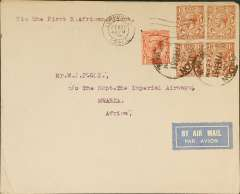 (GB External) F/F Croydon to Mwanza, bs 10/3, franked 7d, plain cover addressed to Supt.  Imperial Airways, canc heavy London/Air Mail pm normally used on air parcels, nice IAW House cachet verso, Imperial AW. ? Test letter.