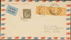 (Kenya) First acceptance of mail from Kenya for France for carriage on Imperial Airways inaugural East Africa-England service, Kisumu to Paris, bs Paris/Gare du Nord Avion/19/3, flown Kisumu to London, Imperial Airways/Airways House/London arrival cachet verso, attractive and uncommon airmail cover franked 70c.