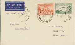 (Australia) Victorian and Interstate Airways F/F Hay to Melbourne, bs 14/9, and on to Adelaide 15/9, plain airmail etiquette cover franked 5d, typed 'By First Flight/Denilquin-Melbourne'.
