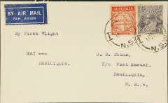 (Australia) Victorian and Interstate Airways F/F Hay to Denilquin, bs 14/9, plain airmail etiquette cover franked 5d, typed 'By First Flight/Melbourne-Hay'.