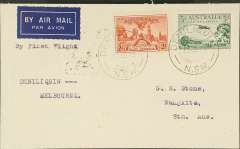 (Australia) Victorian and Interstate Airways F/F Denilquin to Melbourne, bs 14/9, and on to Adelaide 15/9, plain airmail etiquette cover franked 5d, typed 'By First Flight/Denilquin-Melbourne'.