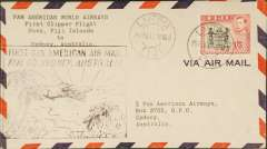 (Fiji) Pan Am, first Clipper flight, FAM 19, Suva to Sydney, bs 26/2, airmail cover franked 1/5d, canc Lautoka cds, large black framed cachet, Pan Am.
