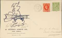 (GB Internal) Hillman Airways, F/F tenth GB Inland Airmail Service London-L'pool-Belfast-Glasgow service, Belfast to Glasgow, bs 1/12, posted 8.45am, blue/ivory Davis cover, signed by pilot W. T. Anderson pilot. Written up on exhibition page, which includes a picture of Mr. Hillman standing in front of the de Havilland Dragon.