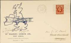 (GB Internal) Hillman Airways, F/F tenth GB Inland Airmail Service London-Liverpool-Belfast-Glasgow service, Liverpool to Glasgow, bs 1/12, posted 8.45am, Davis cover, signed by pilot W. T. Anderson pilot, only 961 flown on all stages,