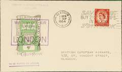 """(GB Internal) BEA, London to Glasgow, printed """"Increase in Airway Letter Rate/ 1 Sept 1954/To be Posted on Arrival"""" cover franked 2 1/2d on arrival canc 'Glasgow/1.30pm/ 1 Sep 54' cds, also green/white FDI BEA 9d tied by violet framed 'Waterloo Air terminal/London to Kirkwall' hand stamp."""