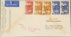 "(Bermuda) F/F Hamilton to New York, red "" Bermuda to US Service RMA Cavalier First Flight h/s, b/s 16/6, Imperial Airways. Some gum suffusion front and verso,"