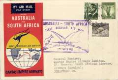 (Australia) Cover flown Sydney to Jo'burg 4/9 on first direct service Australia-South Africa, violet rectangular flight cachet, official red/black souvenir cover, Qantas.