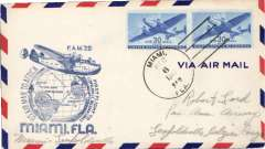 (United States) Pan Am F/F FAM 22, Miami to Leopoldville, Congo, cachet, b/s, airmail cover.