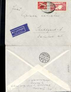 """(Danzig) Airmail service to Germany, Zoppot to Stuttgart, no arrival ds, Danzig transit cds verso, franked 25pf foreign letter rate and 55pf airmail supplement canc oval Zoppot Luftpost ds, blue """"Mit Luftpost"""" airmail Label, flown by Lufthansa via Berlin"""