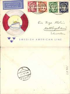 "(Danzig) Airmail service to Sweden, Zoppot to Mellbystrand, no arrival ds, Danzig transit cds verso, franked 25pf foreign letter rate and 55pf airmail supplement canc oval Zoppot Luftpost ds, blue ""Mit Luftpost"" airmail Label, flown by Lufthansa via Berlin, then Lufthansa/Swedish ABT to Malmo."