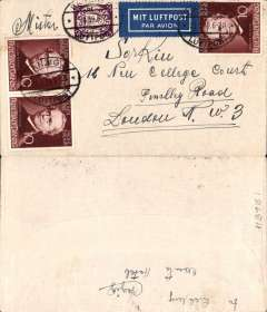 """(Danzig) Airmail service to United Kingdom, Danzig to London, no arrival ds, franked 60pf for foreign airmail canc oval Danzig Luftpost ds, blue """"Mit Luftpost"""" airmail Label, flown by Lufthansa to Croydon via Berlin"""