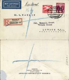 "(Danzig) Airmail service to United Kingdom, Danzig to London, no arrival ds, regisered (label) cover franked 40pf foreign letter rate, 45pf Regn and 25pf airmail supplement, canc oval Danzig Luftpost ds, blue Registration lines added in London, blue ""Mit Luftpost"" airmail Label, flown by Lufthansa to Croydon via Berlin."