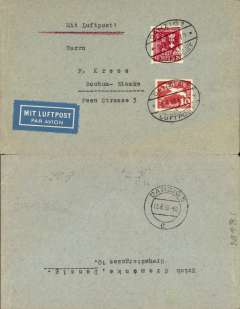 "(Danzig) Airmail service to Germany, Danzig to Bochum-Reimke, no arrival ds, Danzig transit cds verso, franked 25pf foreign letter rate and 10pf airmail supplement canc oval Danzg Luftpost ds,  blue ""Mit Luftpost"" airmail Label, flown by Lufthansa to Hanover, then rail to Bochum."