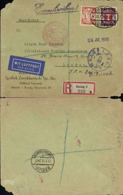 """(Danzig) Airmail service to Great Britain, Danzig to London, private 24.7 clock receiver on front, Berlin 23/7 transit cds verso, registered (label) cover franked 25pf foreign letter rate, 30pf Regn and 25pf airmail supplement, canc oval Danzig Luftpost ds, blue Registration lines added in London, flown by Lufthansa to Croydon via Berlin, blue """"Mit Luftpost"""" airmail Label. Top lh and bottom rh corner nibbles."""