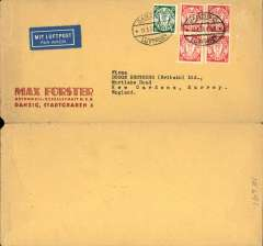 "(Danzig) Airmail service to United Kingdom, Danzig to Kew Gardens, no arrival ds, commercial corner cover. 10x20cm,  franked 40pf foreign letter rate + 30pf airmail, canc oval Danzig Luftpost ds, blue ""Mit Luftpost"" airmail Label, flown by Lufthansa to Croydon via Berlin."