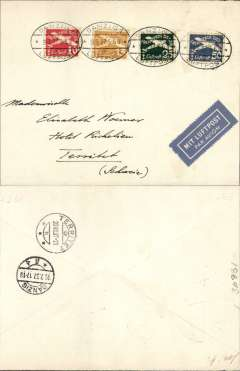 "(Danzig) Airmail service to Switzerland, Danzig to Territet, bs20/7,  Danzig 19/7 transit cds verso, franked 1935 airmails to 1Groschen, canc oval Danzig Luftpost ds,  blue ""Mit Luftpost"" airmail Label, flown by Deutsche Lufthansa direct."
