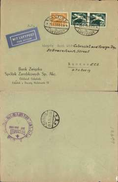 "(Danzig) Airmail service to United Kingdom, Danzig to London, private 30/3/38 receiver verso, commercial corner cover.   franked 40pf foreign letter rate + 25pf airmail, canc oval Danzig Luftpost ds, blue ""Mit Luftpost"" airmail Label, flown by Lufthansa to Croydon via Berlin."