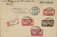 """(Danzig) Airmail service to Germany carried by Deutche Aero Lloyd to Berlin, then by rail to destination, Danzig to Weingarten, bs 13/7, via Berlin C211/2, red """"Mit Luftpost befordert./Briefpostampt Berlin"""" transit cachet verso, registered cover franked 1923 airmails to 925 marks (500M postage, 120M airmail, 300M registration), canc oval Danzig Luftpost ds, German """"Mit Luftpost"""" airmail Label."""