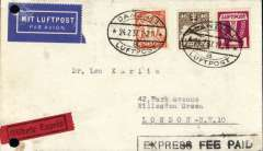 "(Danzig) Express airmail service to United Kingdom, Danzig to London, bs London EC/25/2, Danzig 24/2, correctly franked 40pg letter rate + 80pf Express fee + 25pf airmail supplement (1924 40pf air, 1935 1G air, 1935 5pf defin), canc oval Danzig Luftpost ds, black framed 'Express Fee Paid' added by GPO London, black/red 'Gilbote Expres' label, blue ""Mit Luftpost"" airmail Label, flown by Lufthansa to Croydon via Berlin. File holes top and bottom left hand corners."