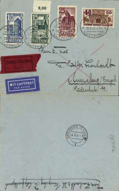 """(Danzig) Express airmail cover, Danzig to Annaberg, Germany, bs Annaberg 16/3London EC/25/2, Danzig 24/2, franked 10+5, 15+5, 25+10, 40pf+20pf 1936 'Winter Help' issue, canc oval Danzig Luftpost ds, black/red 'Durch Gilboten/Expres' label, blue """"Mit Luftpost"""" airmail Label, flown, by Lufthansa via Leipzig and Chemnitz."""
