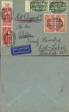 "(Danzig) Airmail service to Germany, Danzig to Kiel-Laboe, no arrival ds, franked 1935 Winter Relief 5pf, 10pf and 15pf, all in pairs, canc oval Danzg Luftpost ds,  ms 'Mit Flugpost', blue ""Mit Luftpost"" airmail Label, flown by Lufthansa to Hanover, then rail to Bochum."