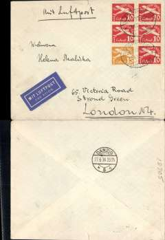 """(Danzig) Night airmail service to United Kingdom, Zoppot to London, via Danzig 24/2, franked Oct 1935 air 10pf x5 and 15pf, canc oval Zoppot/Freie Stadt Danzig/27.6.36 ds, ms 'Mit Flugpost', blue """"Mit Luftpost"""" airmail Label, flown by Lufthansa to Croydon via Berlin. Non invasive closed nick top edge, otherwise fine."""