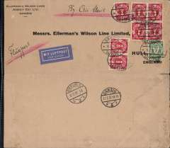 "(Danzig) Airmail service to United Kingdom, Danzig to Hull, no arrival ds, bs Danzig 11/2 and Berlin 12/2, Ellerman Wilson Lines corner cover, 10x20cm, franked 7x20pf + 10pf defins, canc oval Danzig Luftpost ds, blue ""Mit Luftpost"" airmail Label, flown by Lufthansa to Croydon via Berlin"