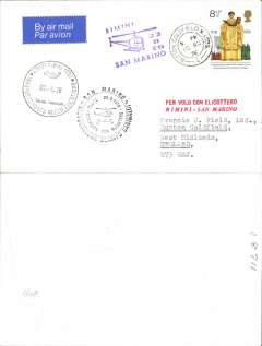 "(Helicopter) GB acceptance for special helicopter flight from Rimini to San Marino, franked QE 8 1/2d canc Sutton Coldfield cds, Rimini and San Marino special flight 22.8.76 postmarks, violet 'helicopter' fight cach, two line ""Per Volo Con Elicottero/Rimini-San Marino"" cachet."
