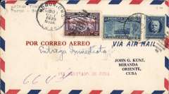 (Cuba) Servicio Aereo Nacional, Moron to Miranda Oriente, bs 31/10, carried on F/F Moron-Santiago de Cuba internal service, airmail cover franked 20c canc Moron/Cuba/30 Oct 1930 cds, typed 'Primer Vuelo/Moron-Santiago', large framed vilet flight cachet verso. Tiny non invasive top edge worm hole.