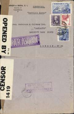 (Spain) Early WWI dual censored airmail cover, Valencia to London, b/s, commercial corner cover franked 2.20P, canc Valencia cds, violet framed 'Censura Military/Avion/Valencia Del Cid' military censor mark verso, sealed with  GB PC66 OBC 1416 censor tape, large blocked violet 'Par Avion' hs.  PC66 censor tape was used on civil mail from shortly before the start of WWII until mid 1940, thereafter on POW mail. Nice item.