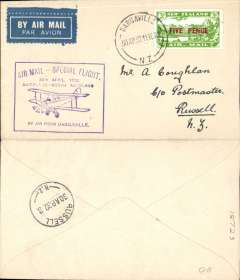(New Zealand) Auckland -North Auckland and Return survey flight, Dargaville to Russell, 3d air stamp, cachet, b/s, Air Travel Ltd