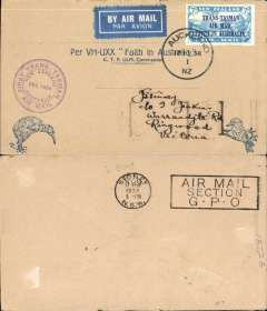 "(New Zealand) CP Ulm, First official mail, Auckland to Sydney, bs 17/2, franked 7d ""Trans Tasman"" opt, special cachet, official Kiwi cover."