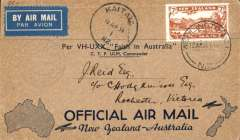 (New Zealand) Kaitaia to Sydney Trans Tasman flight of VH-UXX, Kaita to Sydney, b/s 14/4, buff/dark blue souvenir 'maps of Australia & New Zealand souvenir cover, franked 7d air, circular flight cachet, blue/white etiquette.