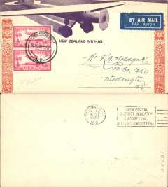 (New Zealand) Union Airways of New Zealand F/F Christchurch-Wellington, bs16/3, Blenheim, bs 16/3, attractive cream/orange souvenir cover depicting DH flying over Maori totem franked 2 x 1d airs.