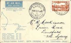(New Zealand) Sixth Trans Tasman crossing of VH-USU Southern Cross, Kaita to Sydney, bs 29/3, franked 7d air canc Dunedin 22 Mar 34 cds, fine strike black Kaita dated 29 March souvenir cachet, attractive blue cream souvenir cover with map and list of crossings franked 7d air.