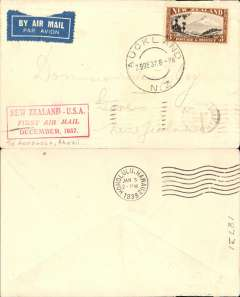 "(New Zealand) Capt. Musik""Samoan Clipper"", Auckland to Honolulu, bs 3/1/38, leg of Auckland-San Francisco survey flight, franked 3/- SG569 (cat £80+ on cover), red boxed cachet, par avion etiquette, plain cover, Pan Am"