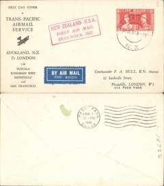 """(New Zealand) Capt. Musik""""Samoan Clipper"""", cover flown Auckland to Pago Pago, b/s 1/1/38, on experimental flight and service from New Zealand to USA, red boxed rectangular cachet """"New Zealand-USA First Air Mail December 1937"""", printed black/white 'First/ Trans-Pacific Airmail Service/Auckland, NZ to London/via Tutuila, Kingman Reef, Honolulu and San Francisco' souvenir cover, franked 6d, Pan AM"""