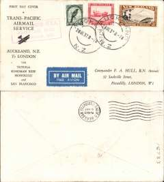 """(New Zealand) Capt. Musik""""Samoan Clipper"""", cover flown Auckland to San Francisco, b/s 6/1/38, on experimental flight and service from New Zealand to USA, red boxed rectangular cachet """"New Zealand-USA First Air Mail December 1937"""", printed black/white 'First/ Trans-Pacific Airmail Service/Auckland, NZ to London/via Tutuila, Kingman Reef, Honolulu and San Francisco' souvenir cover, franked 6d, Pan AM"""