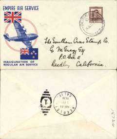 """(New Zealand) First acceptance of mail for USA of mail from New Zealand for carriage on the inaugural Empire Air Mail Servce from Australia to England, Dunedin to Reedley, California, bs 29/8, attractive red/white/blue 'Union Jack' Empire Air Service souvenir cover, franked 1 1/2d canc Dunedin cds, Imperial Airways, flown in """"Carpentaria"""" by Capt. Orme Denny."""