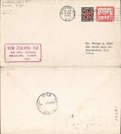 (New Zealand) F/F Auckland to Suva (Fiji), red flight cachet, b/s, plain cover franked 1/3d, Pan Am