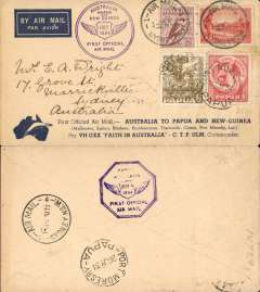 "(Australia) Sydney to Port Moresby, bs 26/7, and return, flown by Ulm in ""Faith of Australia"", Australia and Papua cachets, official ""boomerang"" cover, franked Australia 8d and Papua 8d, latter canc 26/7 for return, and Sydney 1/8 arrival ds."