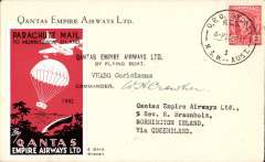 """(Australia) Parachute mail, Sydney to Mornington Island, signed as received by R Braunholz, the missionary in charge, 27/12, large red """"parachute"""" vignette, carried by Qantas flying boat """"Coriolanus"""", and also signed by the pilot, Commander, WH Crowther, Qantas cover with company vignette on flap."""