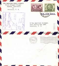 (Australia) F/F FAM 19, Sydney to Honolulu, violet cachet, b/s, airmail cover, Pan Am