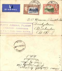 (Trinidad) KLM, F/F Port of Spain to Barbados, framed flight cachet, b/s 19/10, plain cover franked 10c.