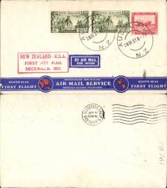 """(New Zealand) Capt. Musik """"Samoan Clipper"""", Auckland to San Francisco, bs 6/1/38, franked 2/- x2 and 6d, red boxed flight cachet, par avion etiquette, attractive printed red/white/blue """"South Seas First Flight/United States:New Zealand/Airmail Service/Hawaiian Islands: Fiji Islands"""" souvenir cover, Pan Am."""