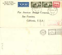 "(New Zealand) Capt. Musik ""Samoan Clipper"", Auckland to San Francisco, bs 6/1/38, franked 2/- x2 and 6d, red boxed flight cachet, par avion etiquette, cream/black souvenir cover printed ""First Air Mail Flight/New Zealand to United Sates/per Samoan Clipper"", Pan Am."