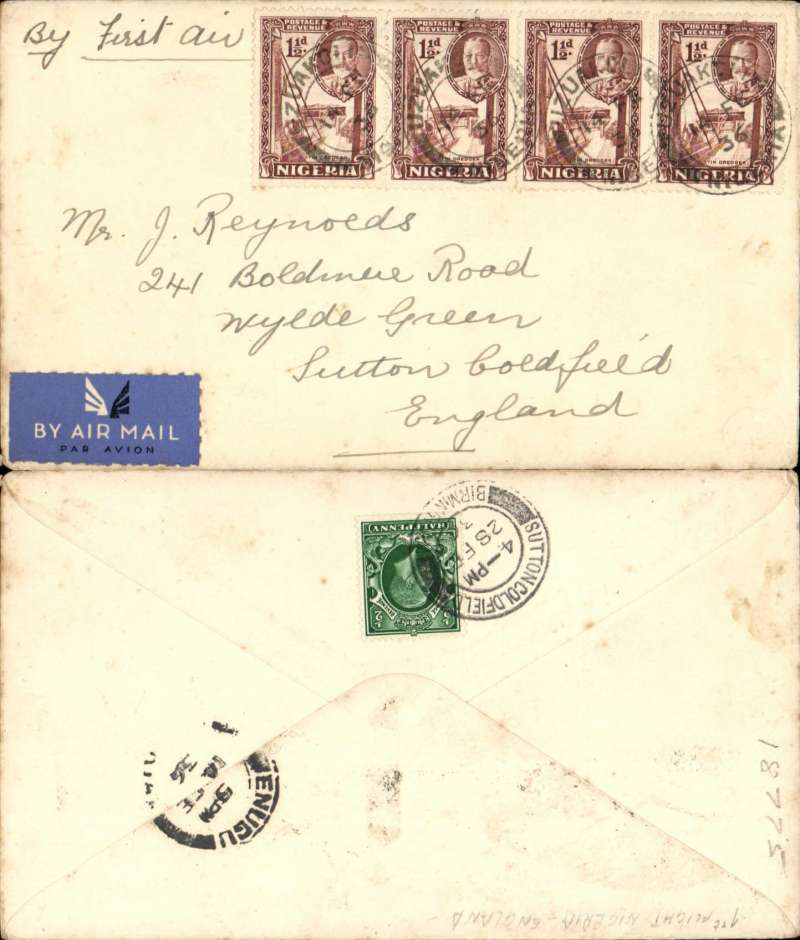 (Scarce and Unusual Routings) First airmail service outside Nigeria, Uzuako to London, bs SuttonColdfield 28/2, via Enugu 14/2, plain cover franked 6d, ms 'By First Air', airmail etiquette. Carried by train to Kano to join the inaugural flight of Imperial Airways's Kano-Khartoum feeder service (Daedelus), then on to London by flight AN317 Imperial AW Africa service (Horsa to Athens, FLYING BOAT Satyrus to Brindisi, Horatius to London). Uncommon origin, great routing, nice item.