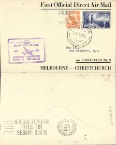 (Australia) First official direct airmail Australia-New Zealand, Melbourne to Christchurch, bs 29/6, official cachet, printed black/white souvenir cover franked 6d, TEAL.