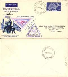 (Australia) 40th anniversary F/F Adelaide to Gawler, Illustrated souvenir cover franked 7d, violet cachet, b/s.